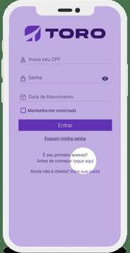 Toro Trader Mobile - Página de acesso