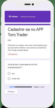 Toro Trader Mobile - Formulário de cadastro