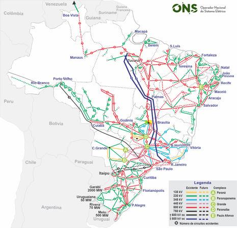 Mapa Sistema de Transmissão de Energia Elétrica