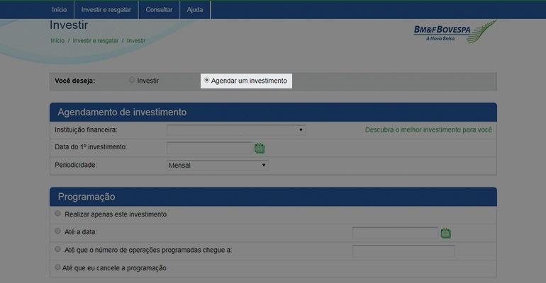 Agendar investimento no tesouro direto