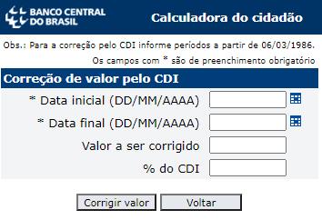 Simulador e calculadora de rendimento do CDI