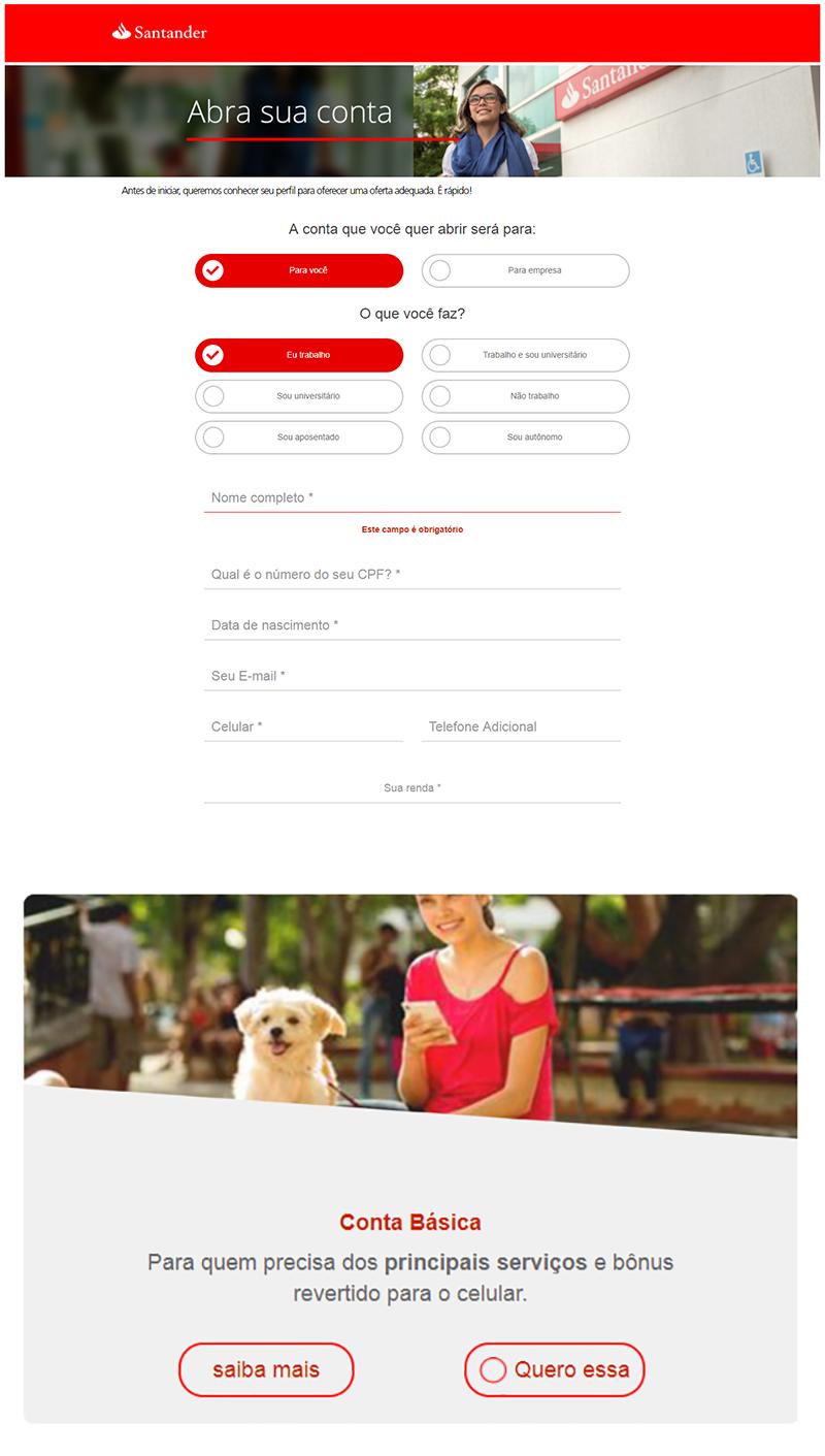Pré-cadastro para abrir conta poupança no Santander